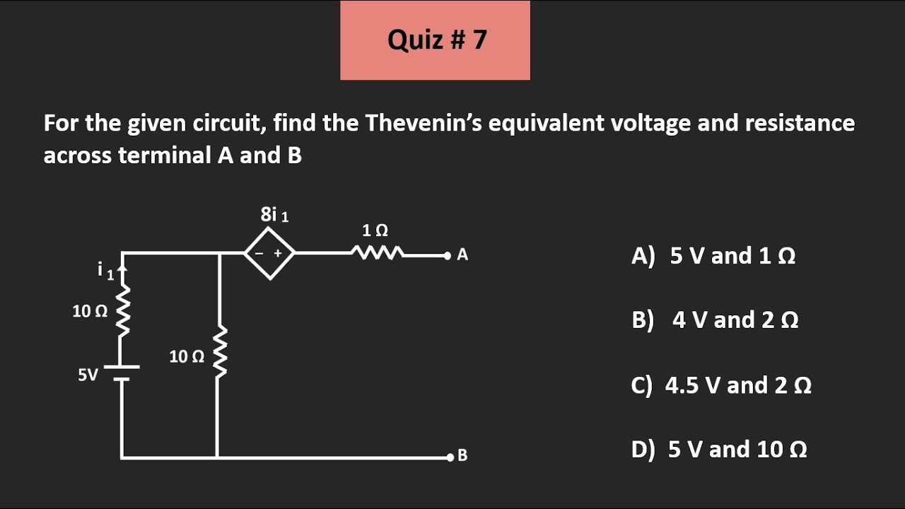 Membership Quiz 7 (Solution) (Thevenin's Theorem)