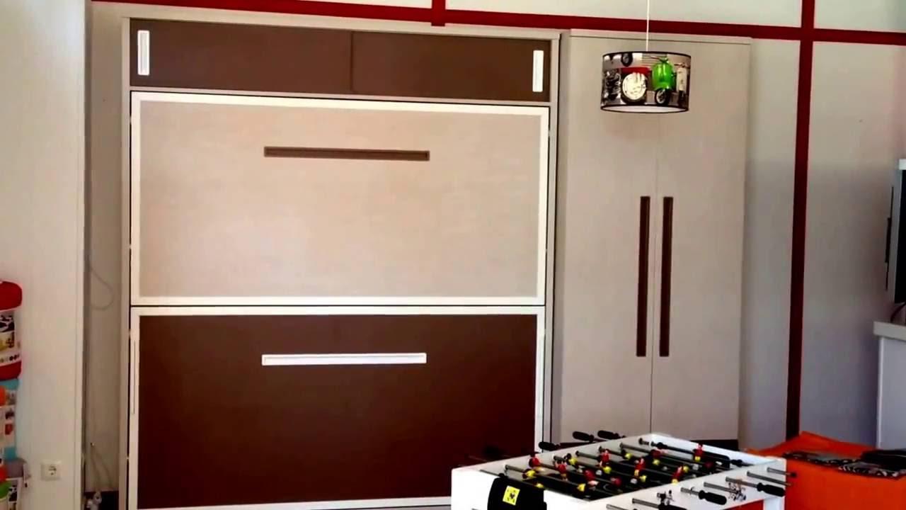 Dormitorios muy pequeños. Literas abatibles - YouTube