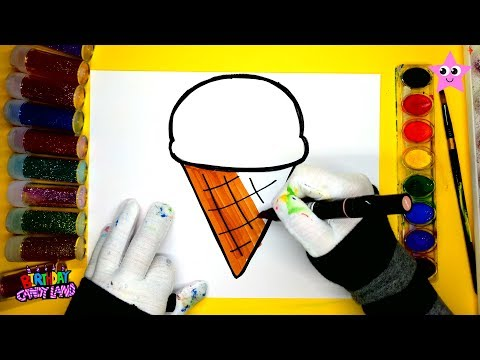 Glitter ICE CREAM Painting Pages for Kids, Drawing and Coloring Fruit with Paint and Glitter Colors