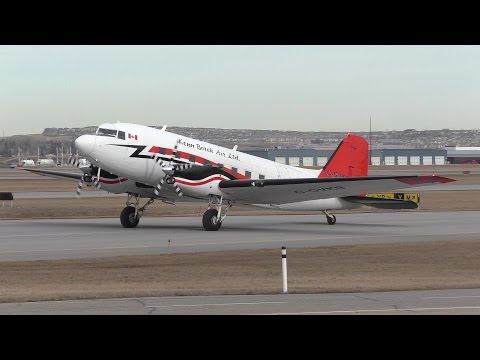 Kenn Borek Air DC-3 Turbine [C-GVKB] Taxi and Takeoff from Calgary Airport ᴴᴰ