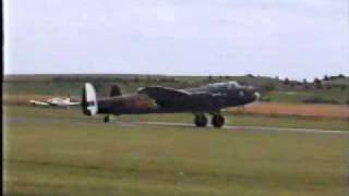 Avro Lancaster start up, take off and display at Duxford