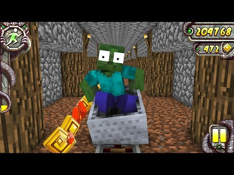 Monster School   TEMPLE RUN CHALLENGE - Minecraft Animation