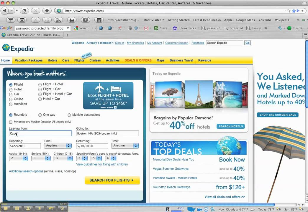 Selecting Flights on Expedia - YouTube