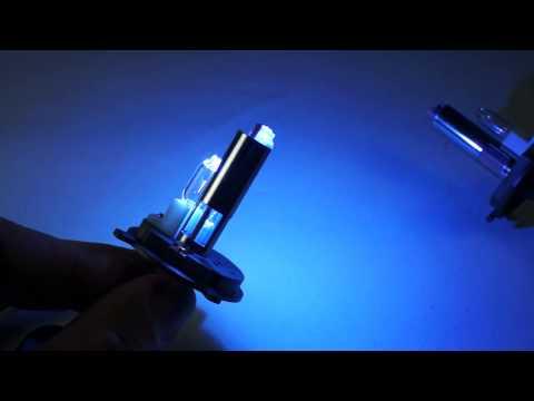 หลอดซูปเปอร์บลู H4 แก้วหลอดโค๊ดสีฟ้า ไฟต่ำเป็นซีน่อน ไฟสูงเป็นฮาโลเจน