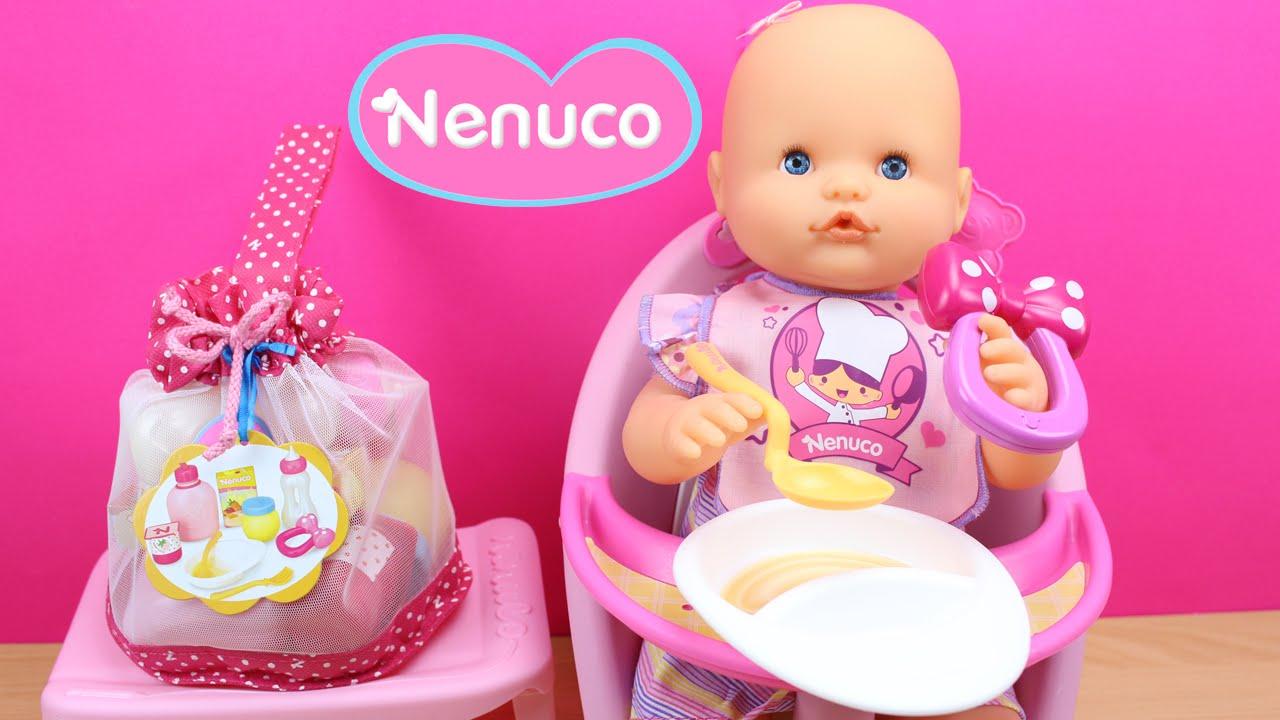 imágenes detalladas brillante n color al por mayor Set de accesorios para la comida de NENUCO en español | La Bebé Nenuco come  papilla en la trona