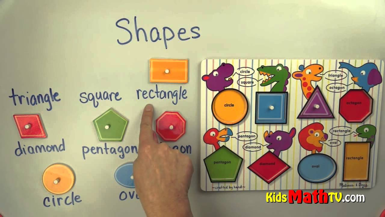 Learn shapes and geometry. Math lesson for kindergarten to ...