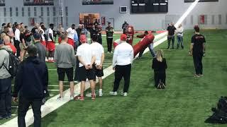 Bill Belichick coaches defensive line drills at Ohio State Pro Day