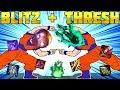 ESTO PASA CUANDO VAS DUO BOT: BLITZ Full AP + THRESH Full AD | PERMA GANCHOS EVERYWHERE |Parodia LoL