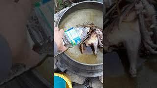 미리 달여놓은 옻나무 진액으로 옻닭 끓여메기