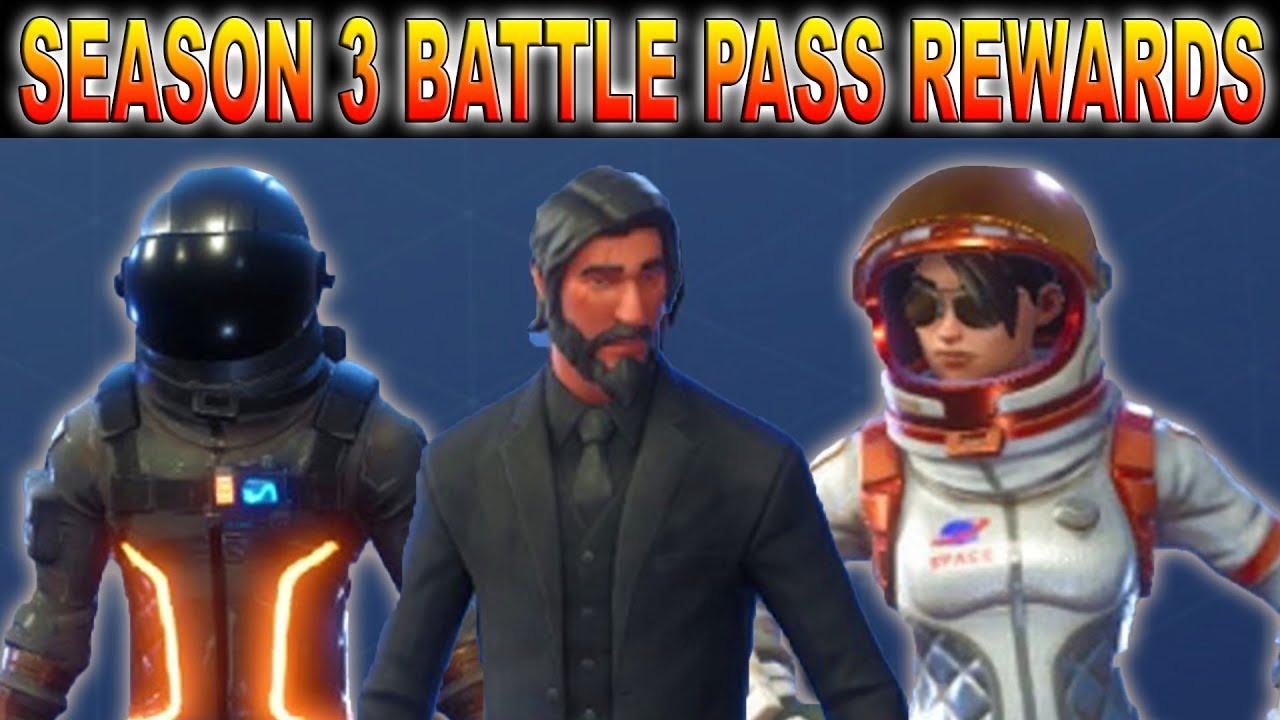 FORTNITE ALL SEASON 3 BATTLE PASS REWARDS! - YouTube