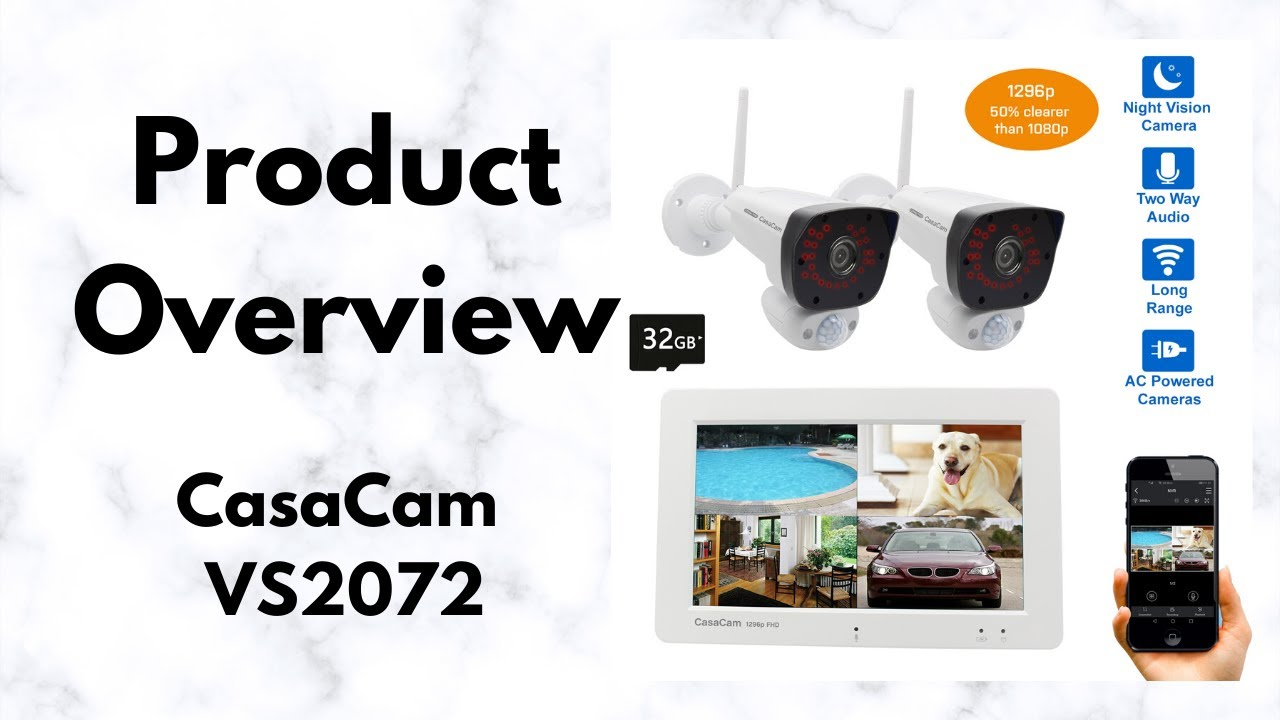 CasaCam VS2072 Wireless NVR Security System Product Overview | Full HD 1296p Cameras | Touchscreen