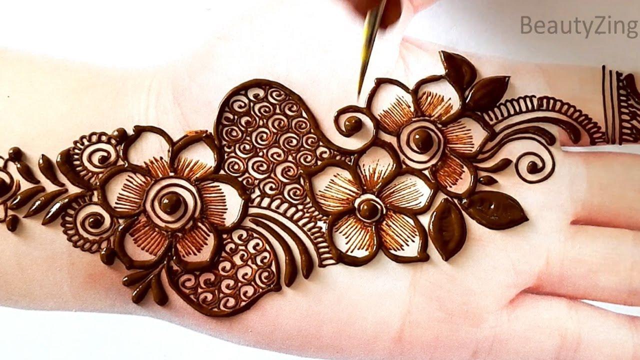 Amazing Arabic Floral Mehndi design Front Hands | Easy Beautiful Mehandi Design | Karwachauth Mehndi