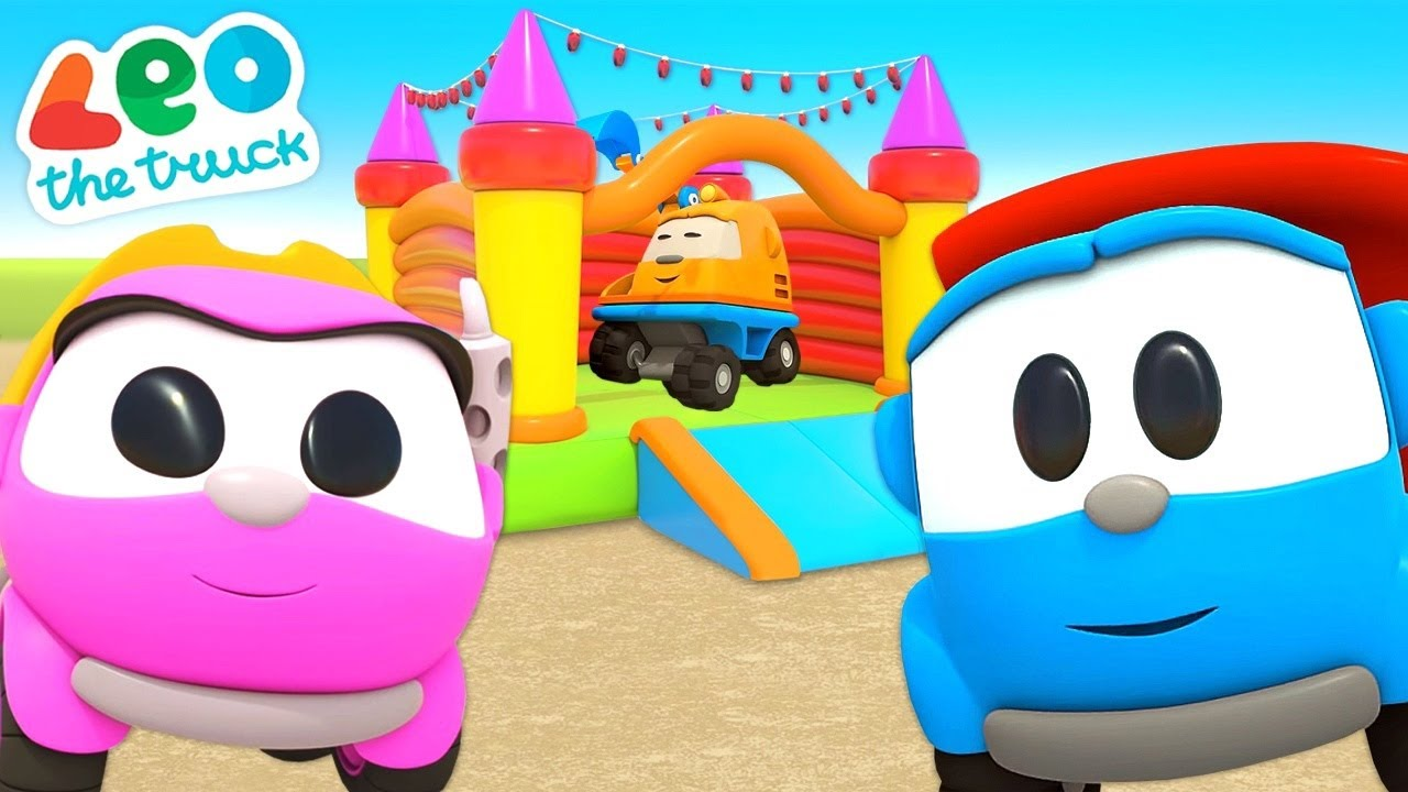 Leo the Truck & the bouncy castle. Car cartoons for kids. Cars and trucks for kids.