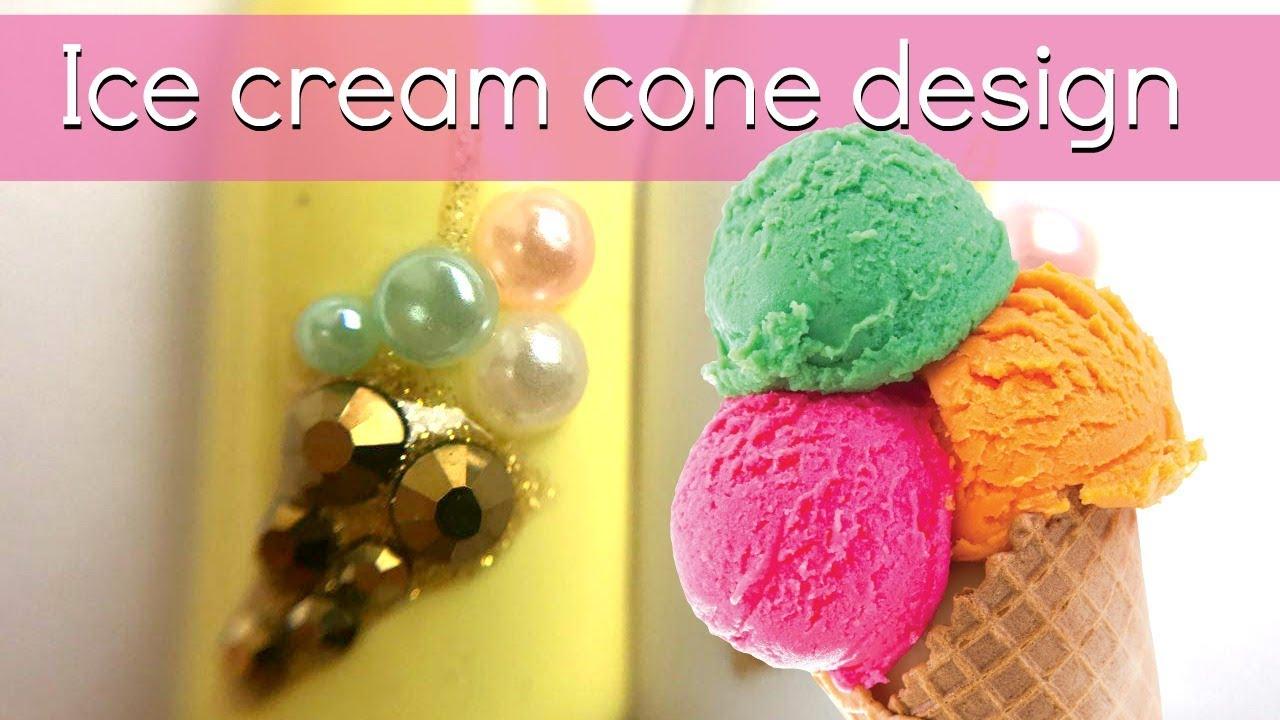 ice cream cone design with rhinestones