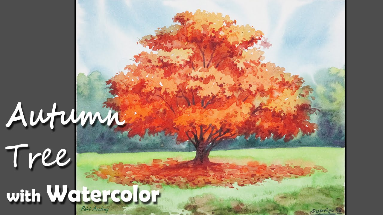 how to paint a autumn tree with watercolor youtube. Black Bedroom Furniture Sets. Home Design Ideas