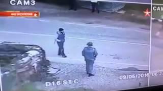 شاهد لحظة تفجير انتحاري نفسه في الشيشان