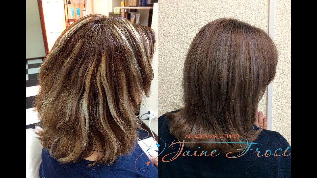 Окрашивание волос мелирование в шоколадный цвет