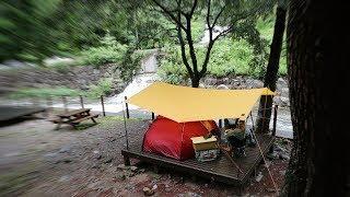 비가 내리긴 하는데 - 계곡 물소리가 더 크네 - 반쪽 우중캠핑 - 미천골 자연휴양림 캠핑
