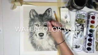 How to paint a Watercolor wolf