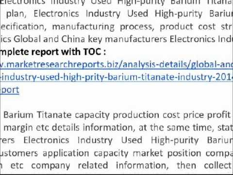 2014 global and china barium titanate Synopsis in this report, the global barium titanate ceramic market is valued at usd xx million in 2017 and is expected to reach usd xx million by the end of 2025, growing at a cagr of xx% between 2017 and 2025.