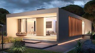 Проект дома в стиле минимализм. Эффектный дом с гаражом, бассейном и террасой. Ремстройсервис V-150