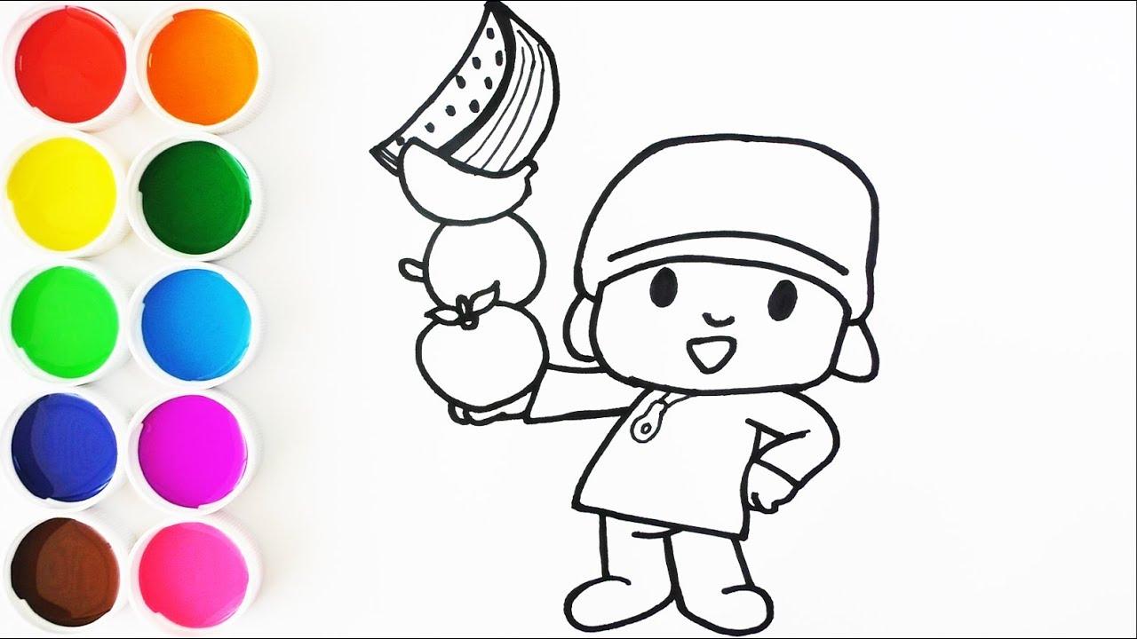 Dibuja Y Colorea A Pocoyo Con Frutas Dibujos Para Ninos Learn