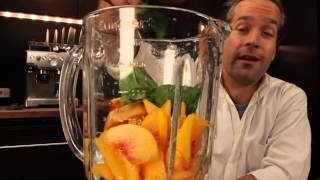 Drink In A Minute - How To Make A Basil Peach Bellini - Brunchcritic