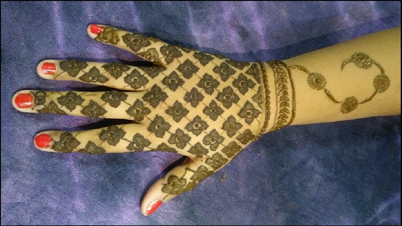 Henna design checks floral simple checks with floral design henna design checks floral simple checks with floral design tutorial video diy how to apply baditri Images