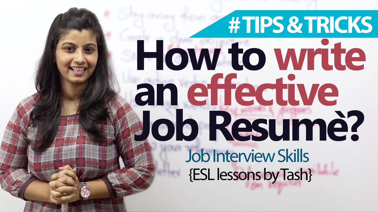Job Interview Skills 09 tips to write an effective Job resume