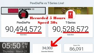 Today T Series passed PewDiePie - Recorded 5 Hours and Speed 30x - T ahead of Pew about 34k