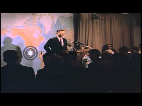 US Secretary of Defense Robert S. McNamara address newsmen at a press conference ...HD Stock Footage