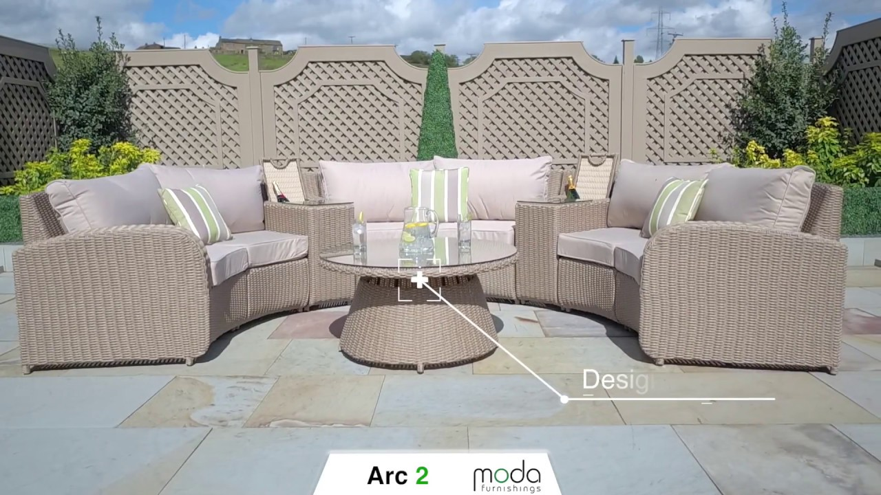 rattan half moon sofa set contemporary brown and beige leather sectional arc 2 youtube