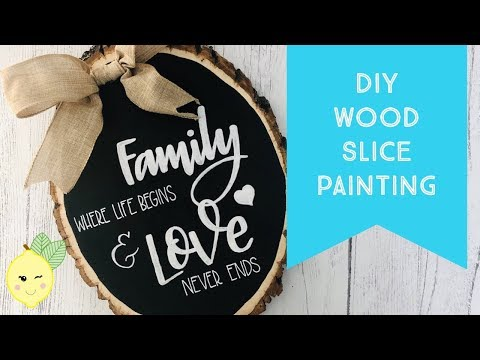 DIY WOOD SLICE PAINTING - Hand Lettering & Stencil Tips