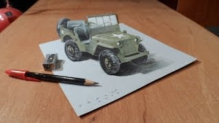 Art Drawing 3D Jeep - How to Draw a 3D Willys MB Jeep