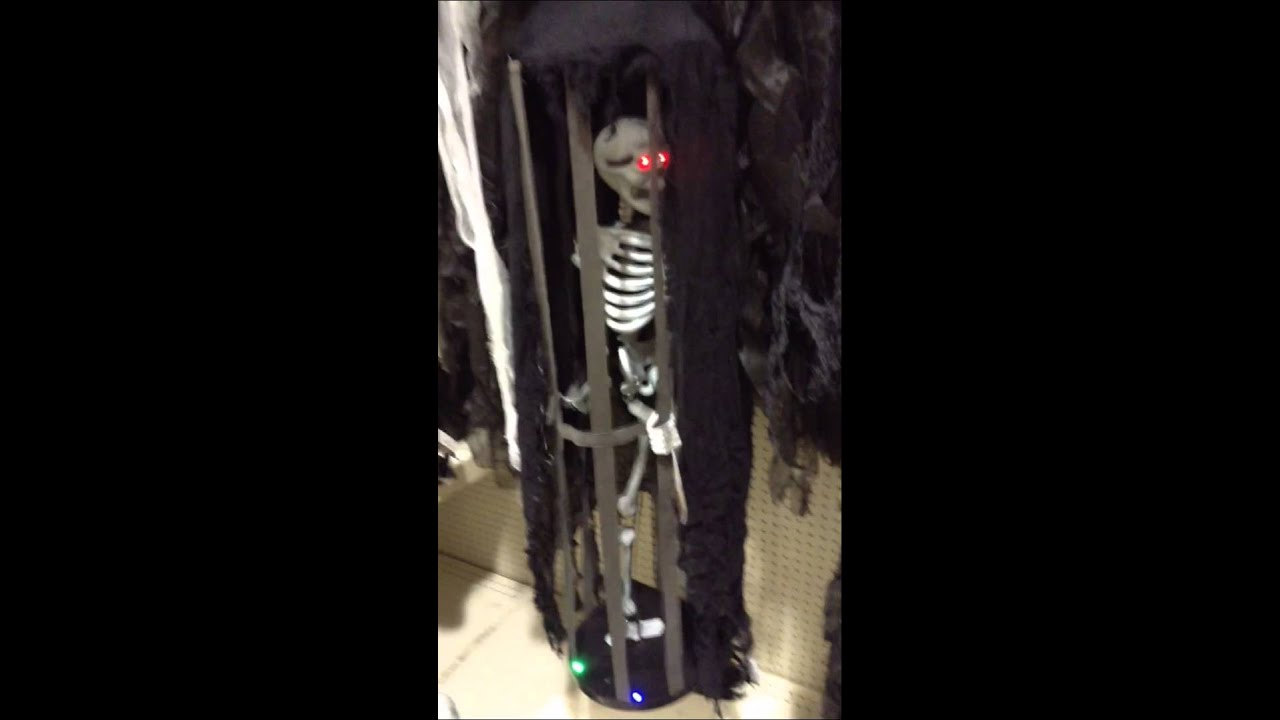 menards halloween 2015 hanging caged skeleton - Menards Halloween Decorations