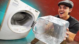 GIANT Block Of Ice VS Washing Machine!