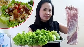 Easy food Crispy Pork Belly   | sach Chruk bom pong | សាច់ជ្រូកបំពងងាយៗ