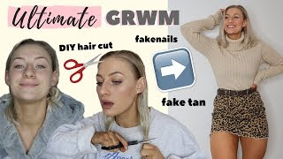 ULTIMATE *REALISTIC* GRWM | DIY HAIR CUT, TAN, NAILS, MAKE UP...