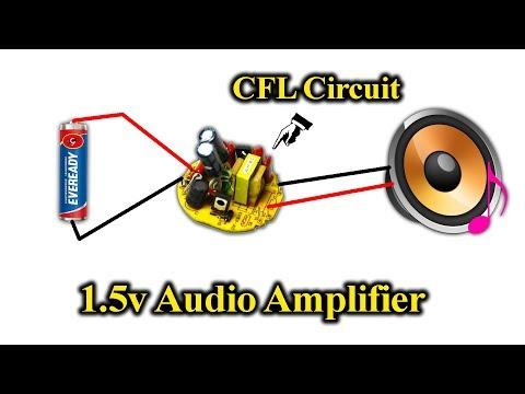 1.5v Mini Audio Amplifier Using CFL Circuit