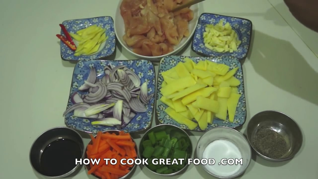 Stir Fry Chinese Chicken Recipe Bamboo Shoots Asian Wok Youtube