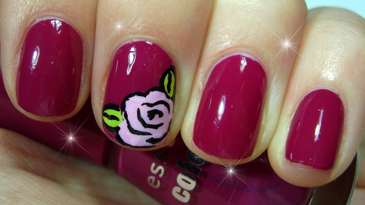 Easy rose Nails ♥ Rose flower nail art design - YouTube