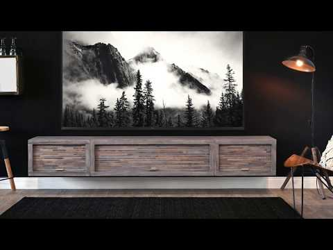 Woodwaves Wall Mount Entertainment Center Floating TV Stand - ECO GEO Lakewood Gray - 3 Piece