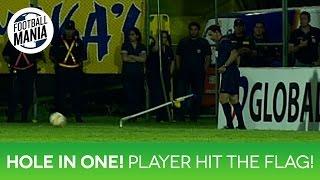 Hole in One! Player kicks the ball straight into corner flag! - Leyvin Balanta (Santa Fe)