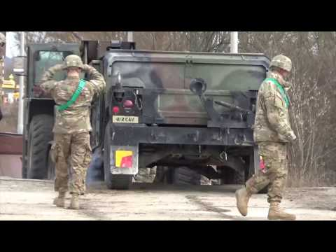 The 2nd Stryker Cavalry Regiment equipment arrives in Orzysz Poland