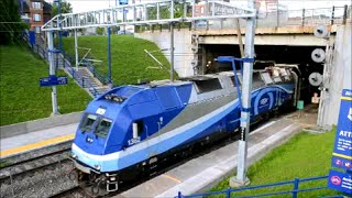 AMT COMMUTER TRAINS IN ACTION IN MONTREAL QUEBEC