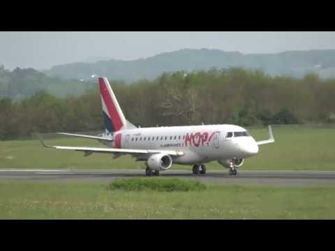 Embraer ERJ-170LR HOP! (F-HBXN) Landing and takeoff at Biarritz airport (BIQ/LFBZ)