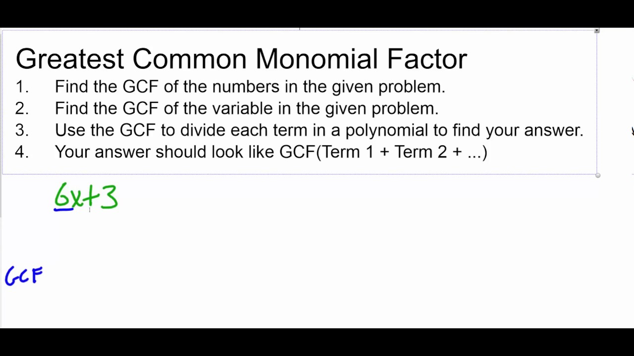 Greatest Common Monomial Factor Steps And Examples Youtube