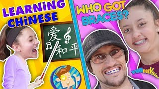 KIDS LEARNING CHINESE w/ FUNnel Vision + Who gets Braces Vlog? (Chinese Song & Handshake)