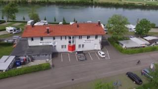 Rhein-Camping in Waldshut direkt am Rhein an der Schweizer Grenze. Drohnen-Film von Vitus Arnold