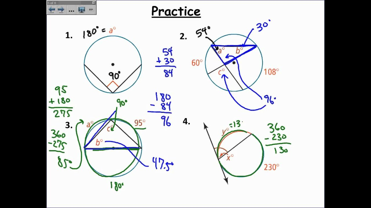 hight resolution of Inscribed Angles in Circles (examples
